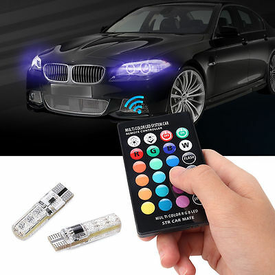 REMOTE CONTROL T10 5050 CAR LED BULB 6 SMD MULTICOLOR W5W 501 SIDE LIGHT BULBS