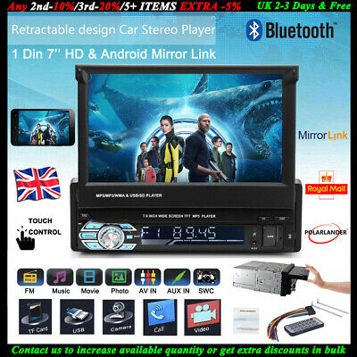 7'' HD Car Radio Stereo Touch Screen Bluetooth Retractable USB/SD/AUX/FM 1DIN