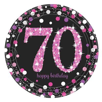 8 X Pink Feier Alter 70 Papierteller Rosa & Schwarz 70. Geburtstag Geschirr ()