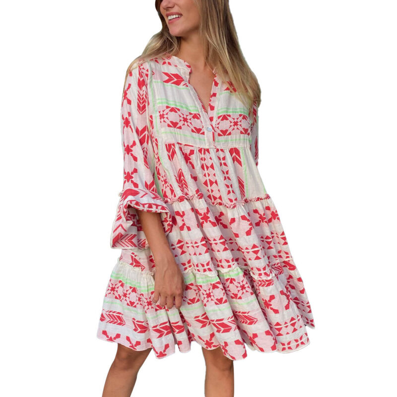 Women Long Sleeve V Neck Mini Dress Summer Beach Holiday Loose Casual Sundress Clothing, Shoes & Accessories