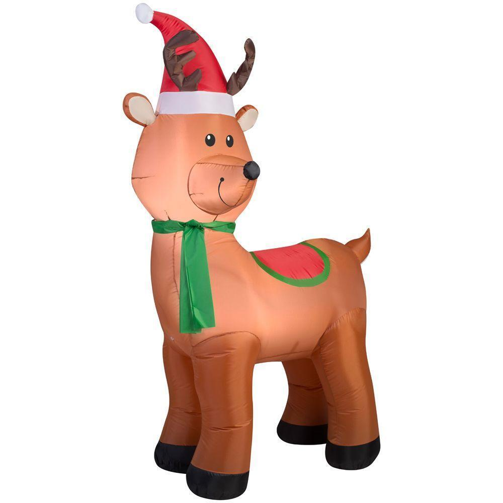 """""""6' (72"""""""") Santa Hat Reindeer Lighted Christmas Airblown Inflatable Holiday"""""""