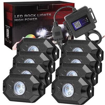 Cree RGB LED Rock LightS 8-Pods Wireless Bluetooth Music Multi Color ATV UTV 4WD