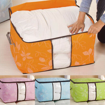 Large Clothes Quilt Bedding Storage Bag Box Zip Handle Laundry Pillow Saving Bag