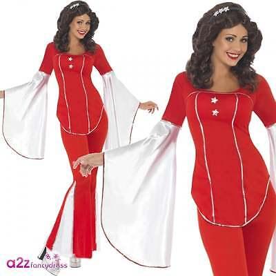 Abba Kostüm (Super Trooper Retro 70s Womens Fancy Dress Kostüm Tanzen Queen Abba)