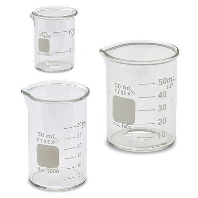 Corning #1000 Griffin Low Form, Micro Glass Beaker Set - 3 Sizes - 10, 30, 50ml