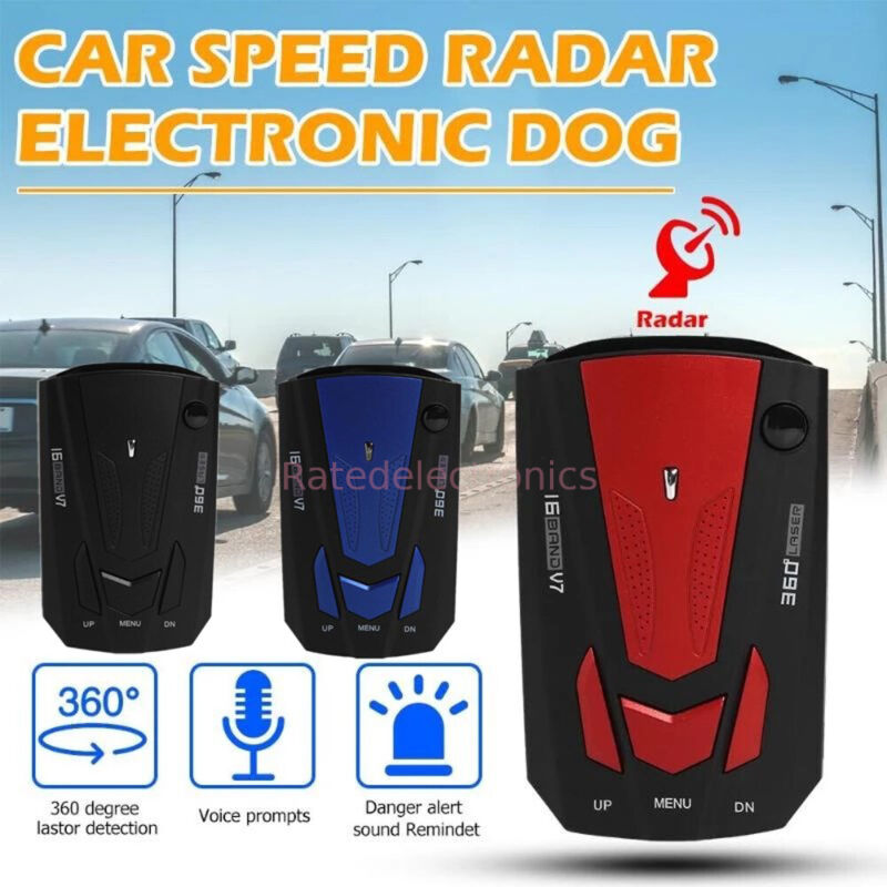 2021 Car Anti-police Speeding Radar Detector Voice Alert 16 Band 360° Gps Camer