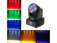 Bright 60W RGBW Amber Plus UV Wash Flood Moving Head Colour Wash Light DJ Stage Band Bar Club Party