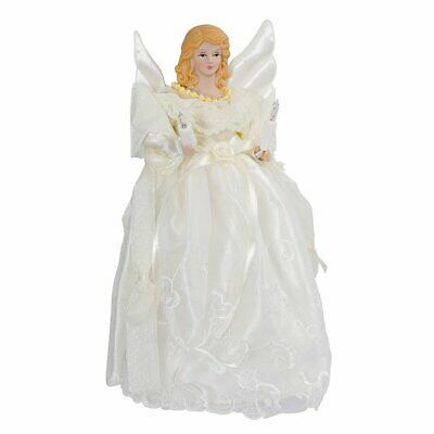 Gold and Ivory Angel Light Up Christmas Tree Topper with 10 Lights UL1076 New