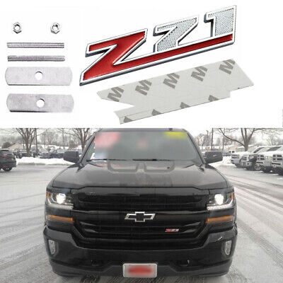 1X Z71 Logo Front Grille Emblem Sticker for Chevrolet Silverado 1500 2500-Red