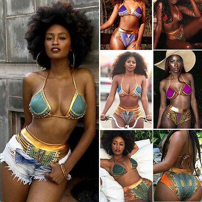 Damen afrikanische Muster Bikini Satz Push-Up Gepolsterter BH Badeanzug