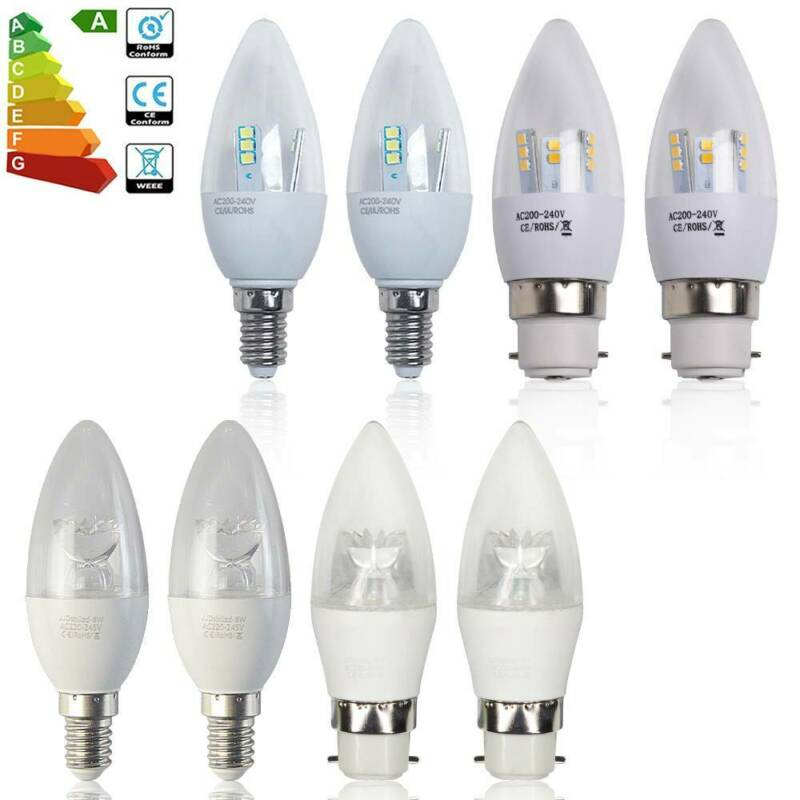 Pack of 6x B22 Bayonet Cap 8W 3W LED Candle Bulbs Spotlight Downlight BC Bulb UK