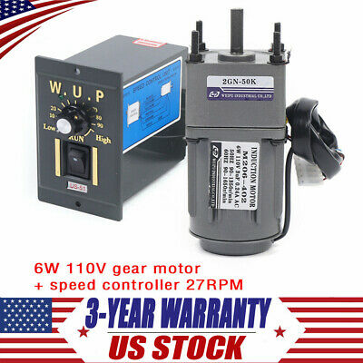 110v Gear Motor Electric Variable Speed Controller 150 27rpm Smooth Operation