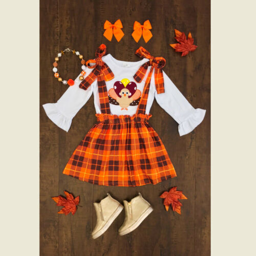 US STOCK Baby Girls Thanksgiving Turkey Clothes Tops+Suspend