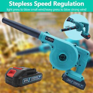 600W 21V Cordless Garden Leaf Blower Electric Air Vacuum Snow Dust Lightweight