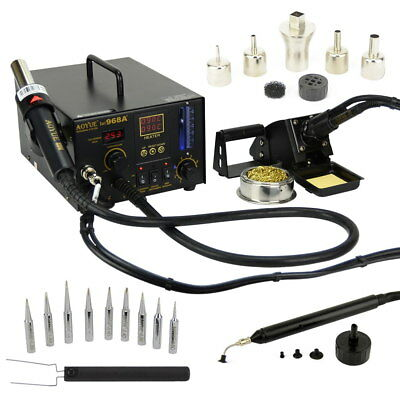 Aoyue 968a 4 In 1 Digital Soldering Iron Hot Air Station Complete Kit