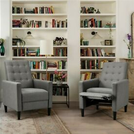 Fabric Reclining Chair Modern Living Room Armchair Couch Sofa Lounge Home Gray