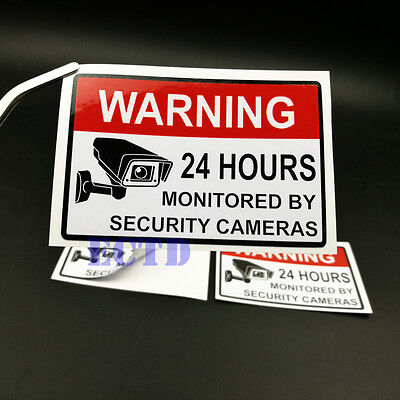 Alarm Surveillance Security Camera Video CCTV Sticker Warning Signs PVC 2PCS