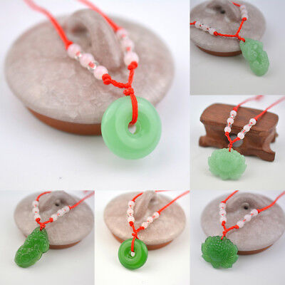 - Red Rope Woven Green Imitation Jade Pendant Necklace Fashion Lucky Charm Jewelry
