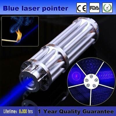 Powerfull 450nm Focus Visible Blue Beam Laser Pointer Pen Laser Torch +  Battery