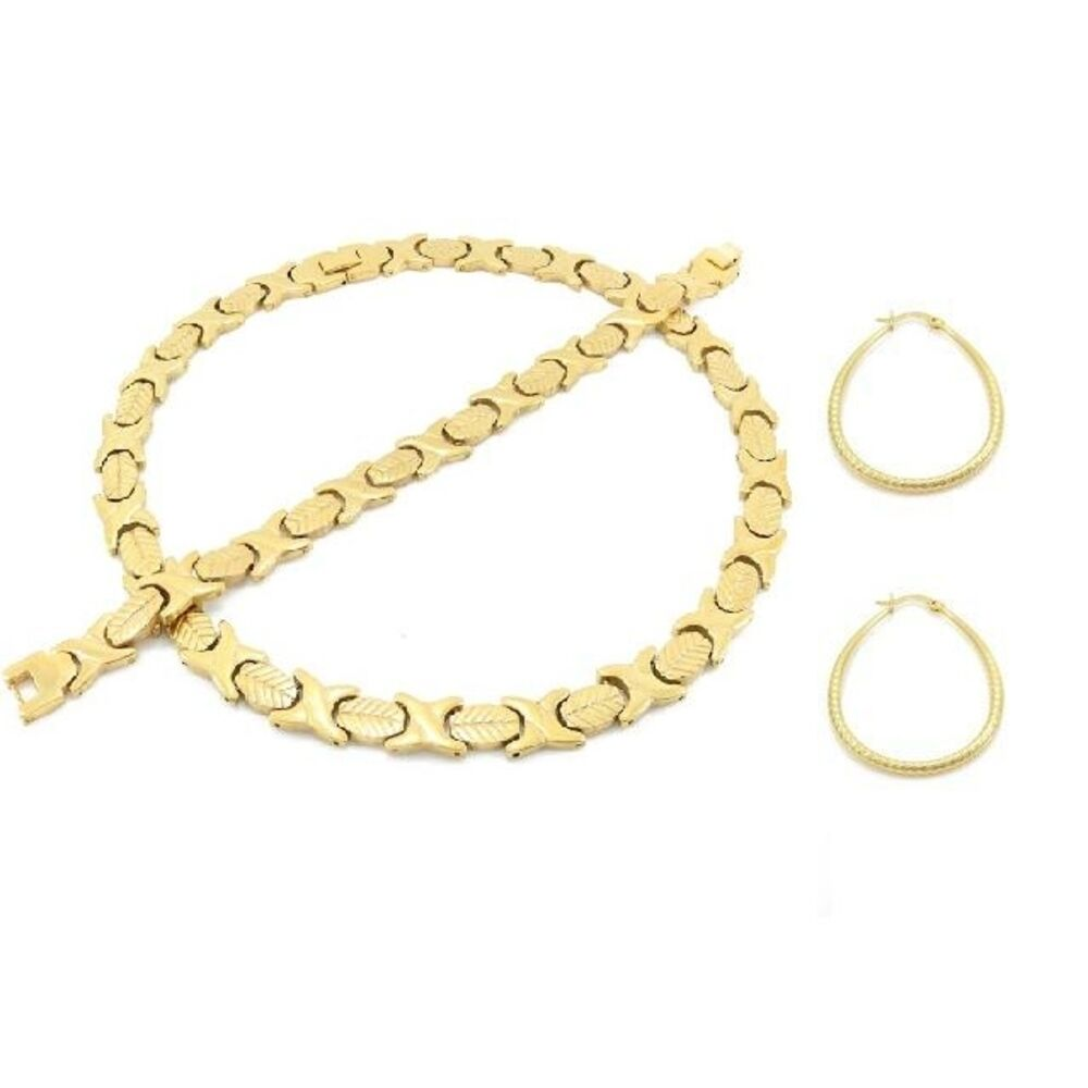 Hugs and Kisses Necklace Bracelet Stampato Stainless Steel Gold Tone Earring Set