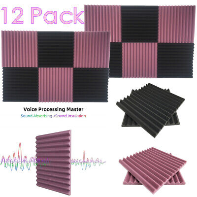 "12 Pack Acoustic Foam Panel 1"" X 12"" X 12"" Wedge Studio Soundproofing Wall Tiles"