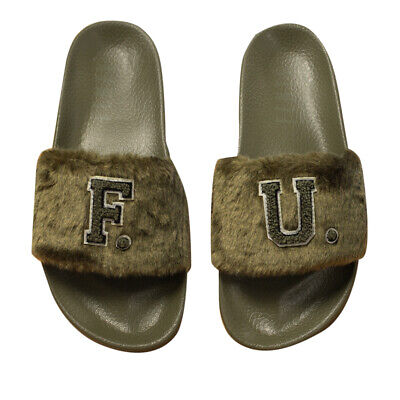 Puma x Leadcat Fenty FU Fur Womens Slidders Slip On Slide Olive 367089 01 B87C