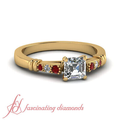 1/2 Carat Asscher Cut GIA Certified Diamond Ring For Her With Round Ruby GIA