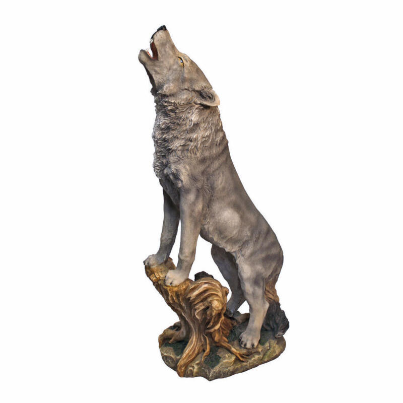 Realistic Wild Wolf Statue Howling at the Moon Garden Sculpture 35.5""