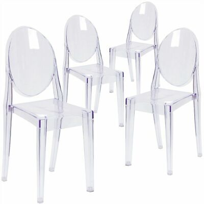 4X Modern Ghost Chair Victoria Style Transparent Oval Clear Dining Room Chair