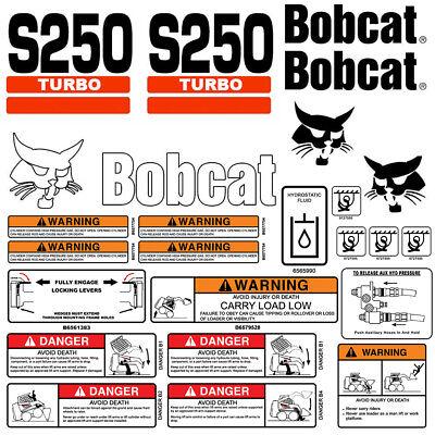 Bobcat S250 Turbo Skid Steer Set Vinyl Decal Sticker 25 Pc Set Free Applicator