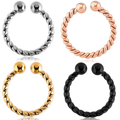PVD Coated 316L Surgical Steel Fake Septum ClipOn Nose Ring Twisted Hoop