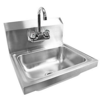 17 Commercial Wall Mount Kitchen Hand Wash Sink Stainless Steel With Faucet