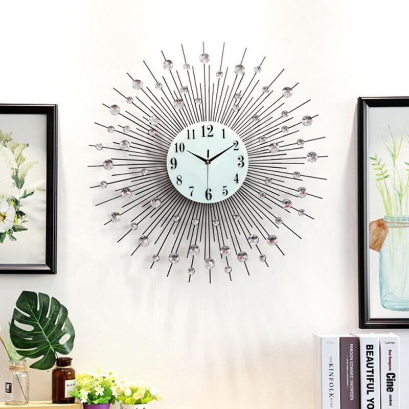 Large Modern Luxury Wall Clock Vintage Metal Crystal Sunburst Diamond Decors NEW