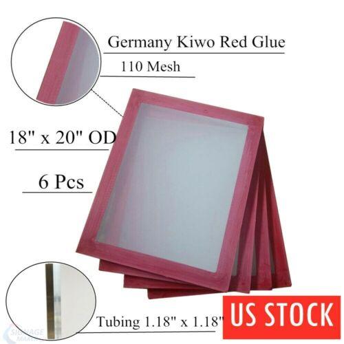 "US Stock 6PCS 18"" x 20"" Aluminum Silk Screen Printing Frame with 110 White Mesh"