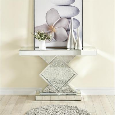 MIRRORED MODERN LIVING DINING ROOM OFFICE CONSOLE CRYSTAL DECO ENTRY FOYER TABLE ()