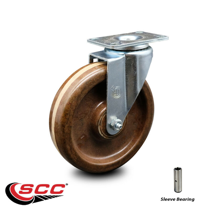 "High Temp Phenolic Swivel Top Plate Caster - 6"" Wheel"