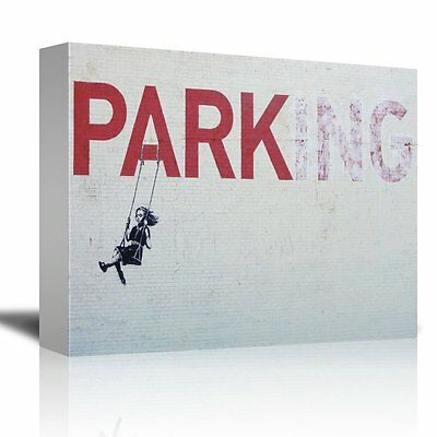 POSTER PRINT PAINTING GRAFFITI BANKSY GIRL SWINGING PARK CAR PARKING SIGN SEB177