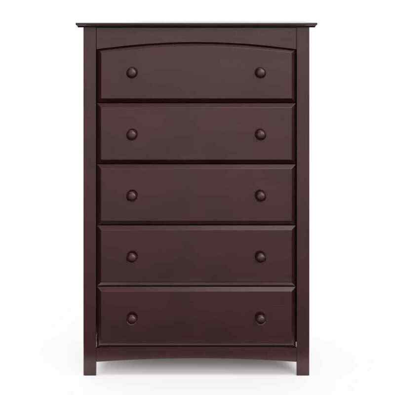 Storkcraft Dresser Espresso Flat Countertop Rounded Wooden Handles 5-Drawer