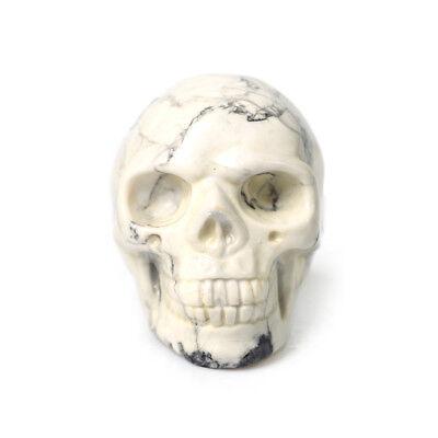 2'' White Turquoise Rock Stone Skull Specimen Healing Reiki Hand Carved Figurine - Skull Hand