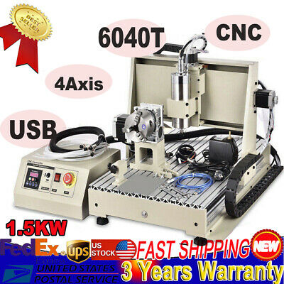 Usb 4axis Cnc6040 Router Engraving Cutting Milling Machine 1.5kw Vfd Woodworking