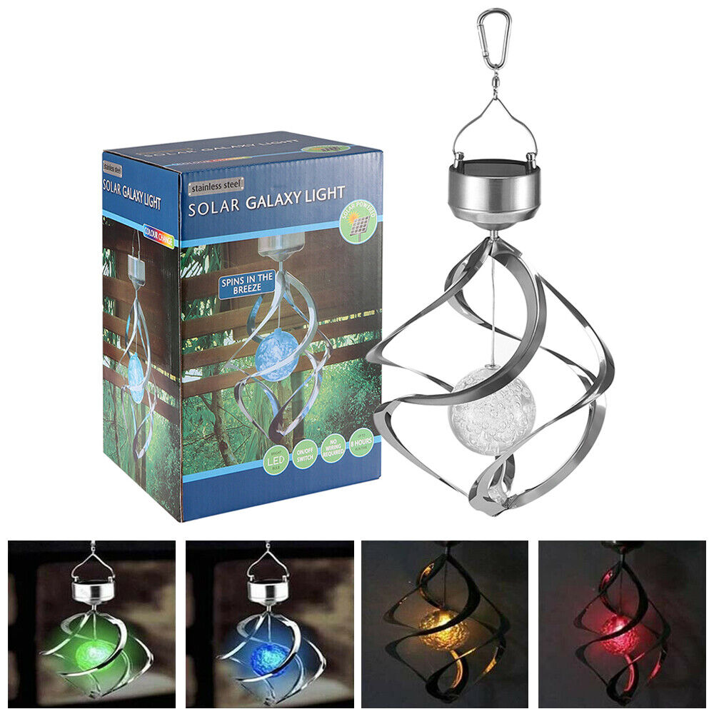 Solar Powered LED Wind Chimes Spiral Spinner Light Color Changing Hanging Lamp Garden Décor