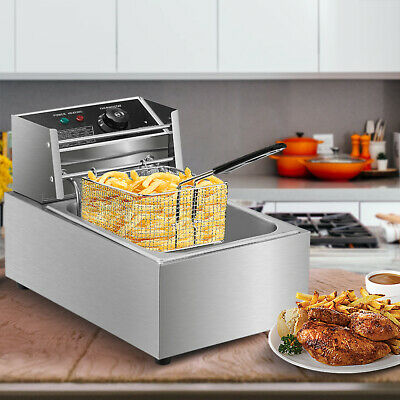 Electric Deep Fryer Stainless Steel Restaurant Home 2500w 6l6.3qt Countertop