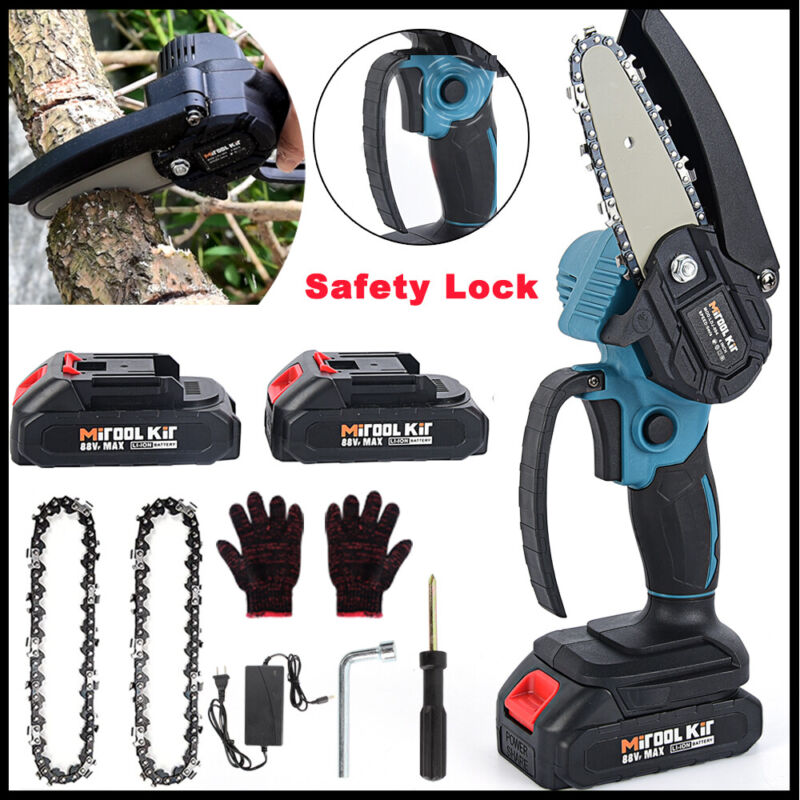 4In Mini Chainsaw Cordless Handheld Rechargeable Small Wood Cutting Lithium New