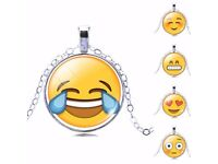 Silver plated emoji faces necklace