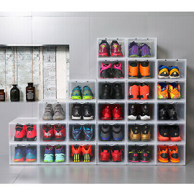 2/4/8/16pcs Large Mens Side Drop Shoe Box Stackable Sneaker Storage -