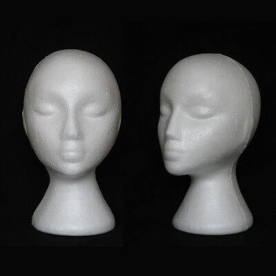 2pc Female Head Model Display Styrofoam Foam Dummy Stand Mannequin Manikin W1a5s