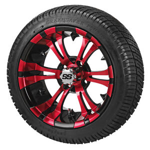 (4) 14 red blue white Aluminum Alloy Golf Cart Car Rim Wheels & Mounted Tires