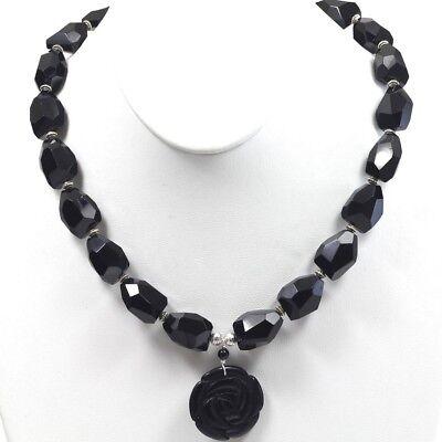 - Natural black Onyx Carved Rose Pendant Charm Statement Bib Necklace Toggle 18.5