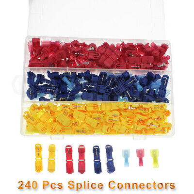240x Quality Insulated 22-10awg T-taps Quick Splice Wire Terminal Connectors Kit