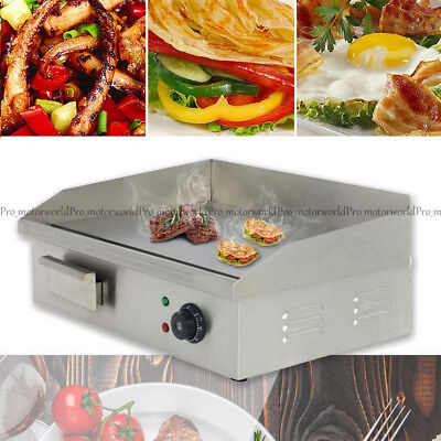 110v Commercial Stainless Steel Electric Griddle Grill Home Bbq Plate 50c-300c